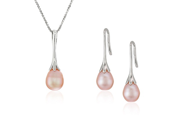 cultured-pearl-drop-pendant-necklace-and-earrings-jewelry-set