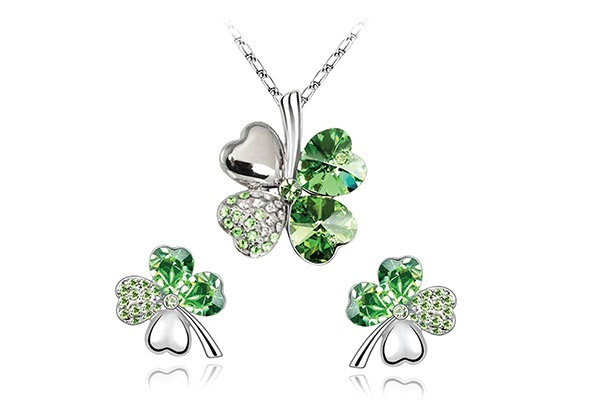 silver shamrock jewelry set