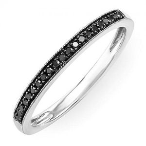 0.10 Carat (ctw) Sterling Silver Round Black Diamond Wedding Anniversary Milgrain Stackable Band