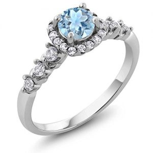 0.87 Ct Natural Round Sky Blue Aquamarine and White Topaz 925 Sterling Silver Ladies Ring (Available in size 5, 6, 7, 8, 9)