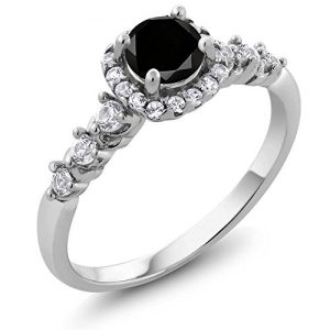 0.97 Ct Round Black Diamond and White Topaz 925 Sterling Silver Engagement Ring (Available in size 5, 6, 7, 8, 9)