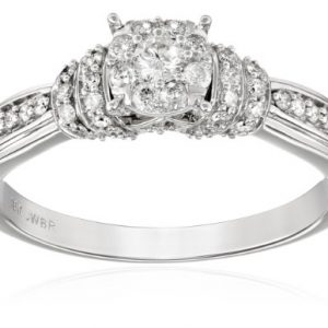 10k White Gold Round Center Cluster Diamond Engagement Ring (1/2cttw, I-J Color, I2-I3 Clarity)
