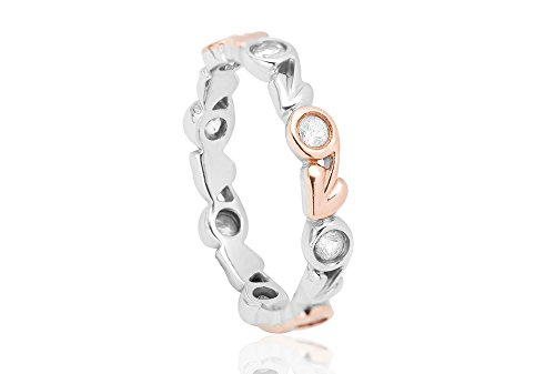 Clogau 925 Sterling Silver And 10k Rose Gold White Topaz