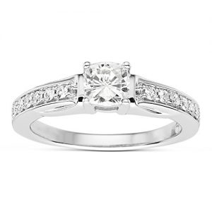 Forever Classic Cushion Cut 5.0mm Moissanite Engagement Ring, 0.78cttw DEW By Charles & Colvard