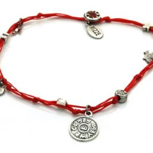 Handmade Prosperity King Solomon Seal Charms Ankle Bracelet in Red