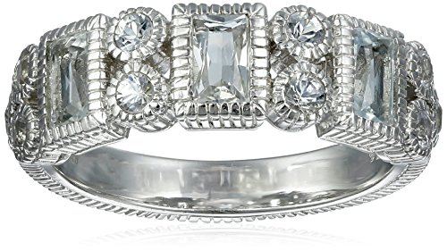 "Judith Ripka ""Estate"" Sterling Silver Vertical Baguette Ring with White Topaz and Saphhires"