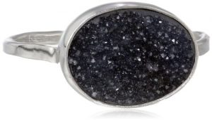 Melissa Joy Manning Sterling Silver Horizontal Oval Black Druzy Ring, Size 7