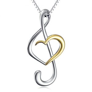 (Musical Note Necklace Pendant) 925 Sterling Silver Jewelry for Women Birthday Gifts, Box Chain 18″ (Gold Plated)