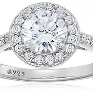 Platinum-Plated Sterling Silver Round-Cut Swarovski Zirconia Halo Ring (1.5 cttw)