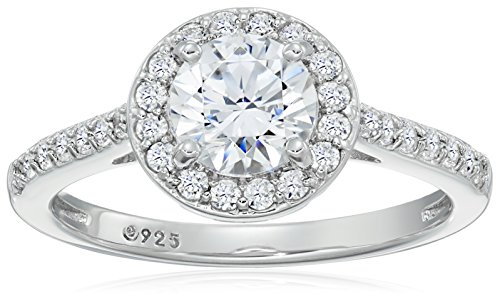 32a2c33453665 Platinum-Plated Sterling Silver Round-Cut Swarovski Zirconia Halo Ring (1.5  cttw)