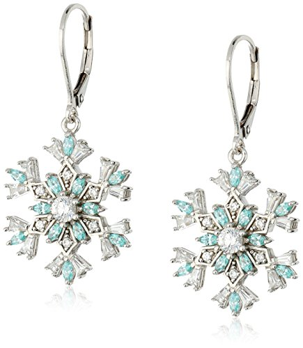Platinum Plated Sterling Silver And Swarovski Zirconia Snowflake Leverback Earrings