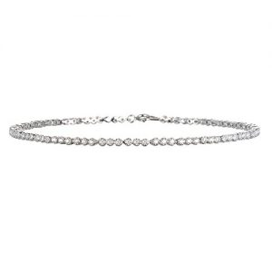CHELINE Rhodium Plated Silver White Cz Line Anklet-10