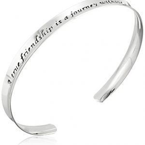 Sterling Silver A True Friendship Concave Cuff Bracelet