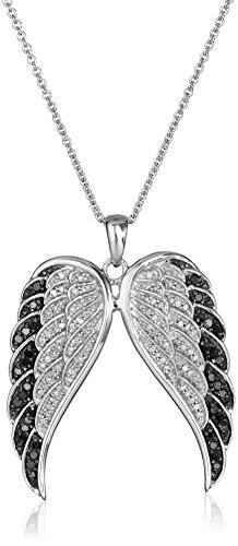 Sterling Silver Black and White Diamond Angel Wings Pendant Necklace (1/2 cttw), 18″
