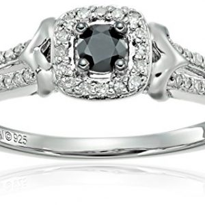 Sterling Silver Black and White Diamond Engagement Ring (1/3cttw), Size 7