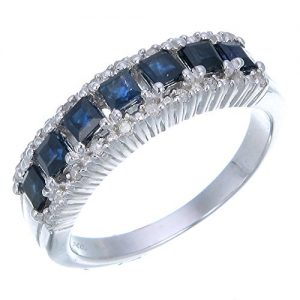 0.70 cttw Blue Sapphire & Diamond Wedding Band .925 Sterling Silver with Rhodium