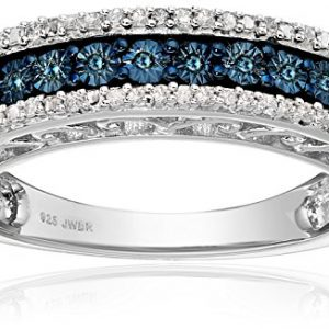 Sterling Silver Blue and White Diamond Anniversary Ring (1/10 cttw, )