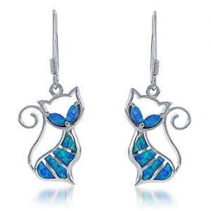 Sterling Silver Created Blue Opal Cat Dangle Earrings
