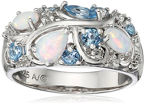 6ec9f8c86 Sterling Silver Created Opal with Blue and White Topaz Accent Ring ...