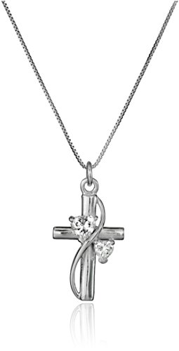 "Sterling Silver Cubic Zirconia ""Faith Hope Love"" Cross Pendant Necklace, 18″"