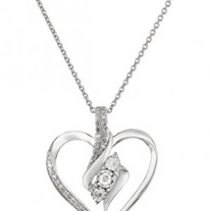 Sterling Silver Diamond 3 Stone Heart Pendant Necklace (1/4 cttw), 18″