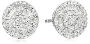 Sterling Silver Diamond Round Stud Earrings (1/2 cttw)