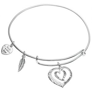 Qina C Sterling Silver Mother Son Forever Love Heart Leaf Dangle Charm Family Adjustable Wire Bangle Bracelet