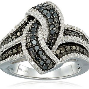 Sterling Silver with White and Black Diamond Ring (1/2cttw, I-J Color, I2-I3 Clarity)