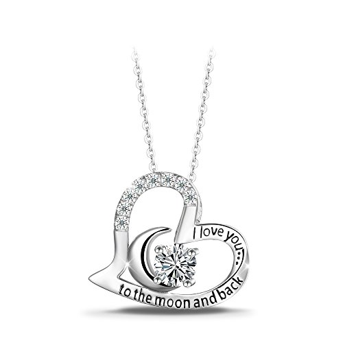 T400 jewelers sterling silver i love you to the moon and back t400 jewelers sterling silver i love you to the moon and back heart moon zirconia pendant necklace aloadofball Image collections