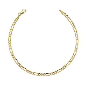 10k Yellow Gold Figaro Chain Bracelet with Concave Look, 0.25 Inch (6.3mm)