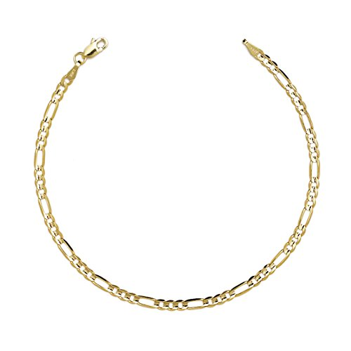 10k Yellow Gold Figaro Chain Bracelet With Concave Look 0 25 Inch 6 3mm