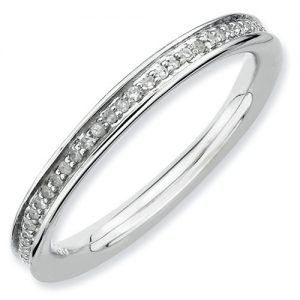 2.25mm Rhodium Plated Sterling Silver Stackable Expressions Diamond Eternity Ring
