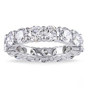 Metal Factory 3.50MM Sterling Silver 925 Cubic Zirconia CZ Eternity Engagement Wedding Band Ring