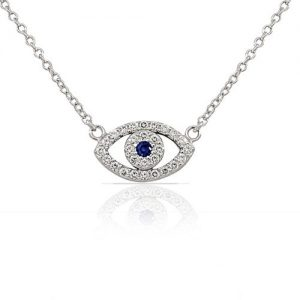 925 Sterling Silver Evil Eye White Blue CZ Pendant Necklace