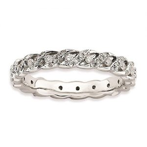 925 Sterling Silver Rhodium-plated 3.5mm Polished Diamond Eternity Ring