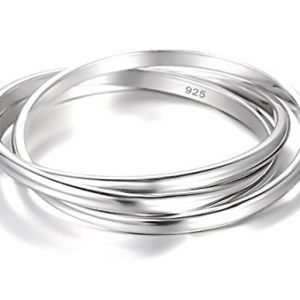 925 Sterling Silver Ring Triple Interlocked Rolling High Polish Tarnish Resistant Wedding Band Stackable Ring