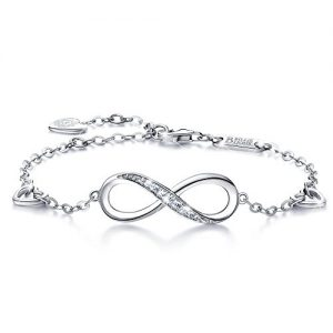 Billie Bijoux Womens 925 Sterling Silver Infinity Endless Love Symbol Charm Adjustable Bracelet for Women Girls
