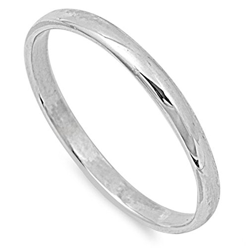 Choose Your Width Sterling Silver Wedding Band Comfort Fit Ring 2mm