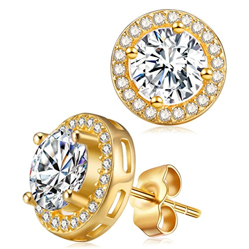 Childrens 925 Sterling Silver Round Ear Studs with Crystal So Chic Jewels