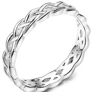 FUNRUN JEWELRY 4mm Sterling Silver Celtic Knots Eternity Wedding Bands Rings for Women Size 4-12