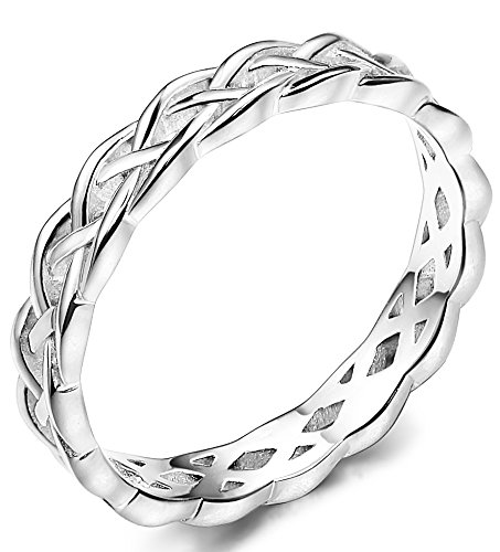 Funrun Jewelry 4mm Sterling Silver Celtic Knots Eternity Wedding Bands Rings For Women Size 4 12