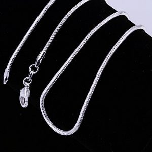 Goldenchen 5 Pieces 925 Sterling Silver Plated 2mm Snake Chain Necklace Jewelry (16 Inch)