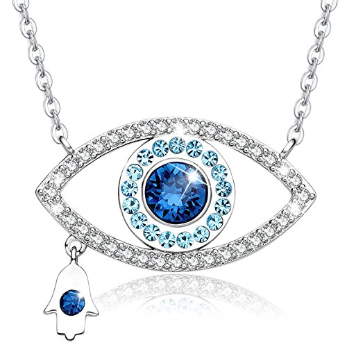 976ea5bfbfd02 MEGA CREATIVE JEWELRY Blue Evil Eye and Hamsa Hand Pendant Necklace Made  with SWAROVSKI Crystal, Gifts Ideas for Women on Birthday