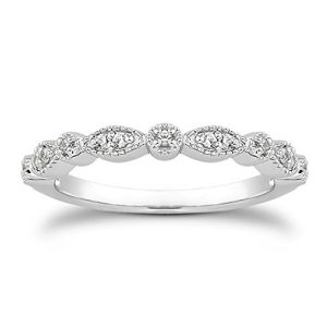 Milgrain Marquise & Round Cubic Zirconia Eternity Ring Stacking Infinity Wedding Band Sterling Silver Platium Plated or Rose Gold Plated Size 4-9