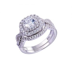 Newshe 1.8Ct Round White Cz 925 Sterling Silver Wedding Band Engagement Ring Sets Size 5-10