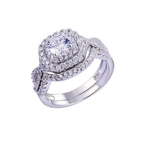 Sterling Silver Wedding Sets.Newshe 1 8ct Round White Cz 925 Sterling Silver Wedding Band Engagement Ring Sets Size 5 10