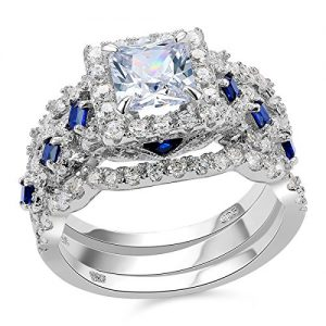 Newshe Engagement Wedding Ring Set 925 Sterling Silver 3pcs 2.5ct Princess White Cz Blue Size 5-10