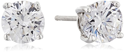Amazon Collection Platinum or Gold-Plated Sterling Silver Round-Cut Swarovski Zirconia Stud Earrings