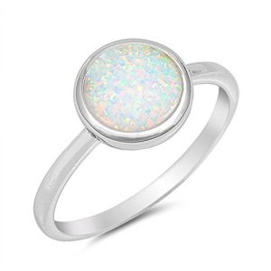 Oxford Diamond Co Solid Round Lab Created White Opal .925 Sterling Silver Ring Sizes 4-12