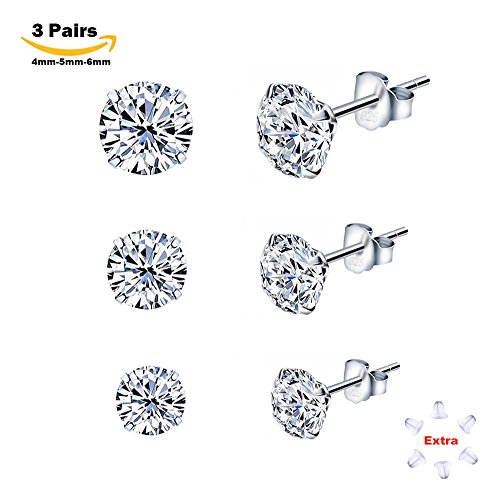 Beautiful Sterling Silver Studs Earrings with Cubic Zirconia NOT STAINLESS  NH79